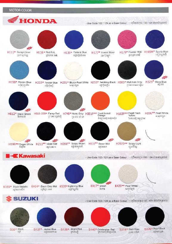 Colour Chart | Samurai Paint Malaysia